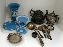 Wedgwood Jasperware, pewter teapot, silver plate