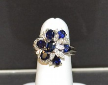14kwg Blue Sappire & Diamond Ring