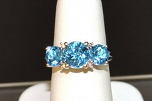 14kwg Blue Topaz & Diamond Ring