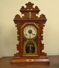 E. INGRAHAM PANSY MANTEL CLOCK