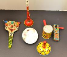 6 Vintage tin toys noise makers