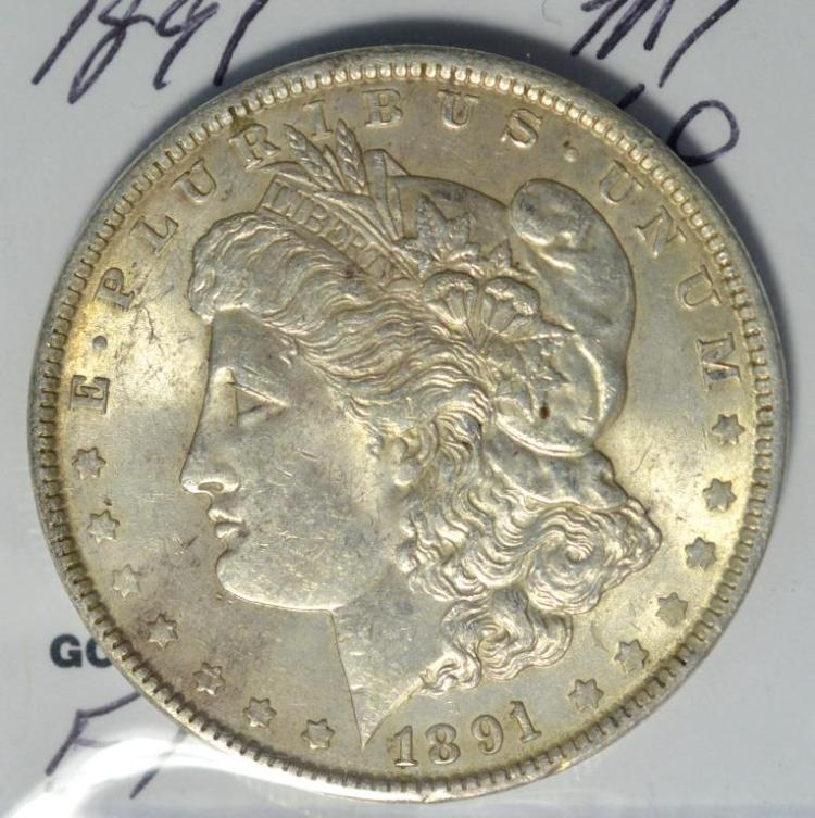 1891 morgan silver dollar ms 60 for Gulf coast coin and jewelry