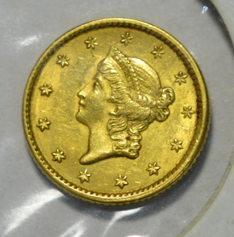 1851 type 1 1 liberty head gold dollar au for Gulf coast coin and jewelry