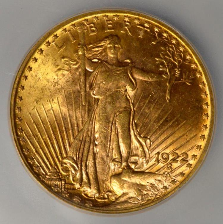 1922 20 saint gaudens gold double eagle icg ms 63 for Gulf coast coin and jewelry