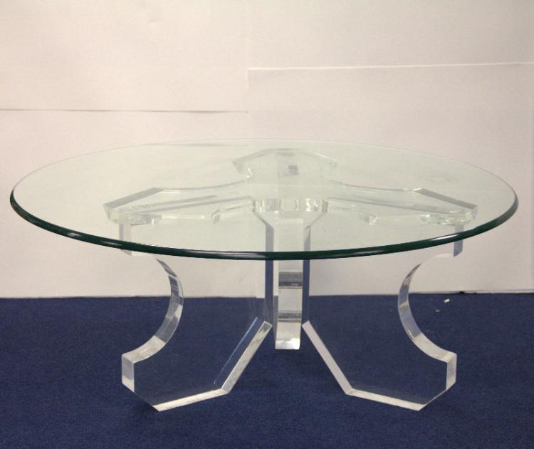 Lucite Round Glass Coffee Table