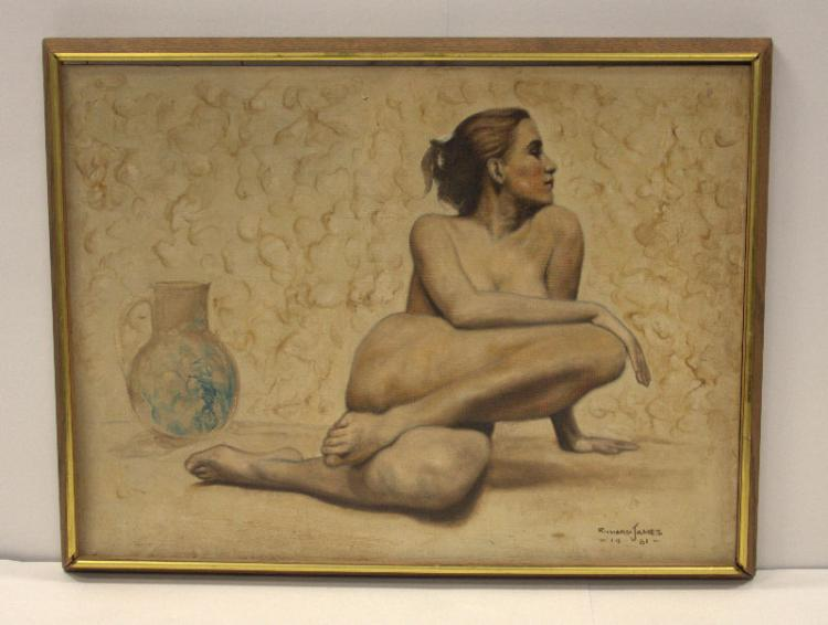 Richard James Oil Painting on Canvas Board of a Nude Woman