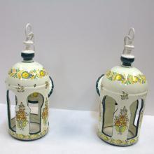 Pair of Ceramic Hand Painted Hanging Lanterns