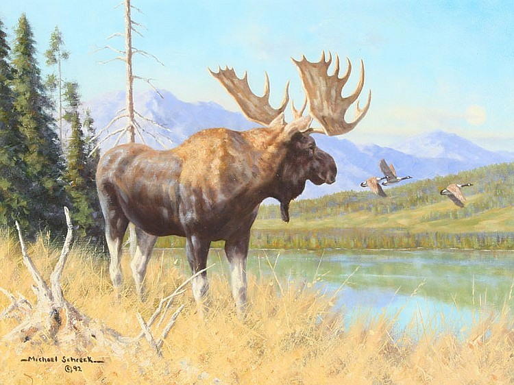 Oil on canvas of a moose and Canada geese in the mountains by Michael Schreck.