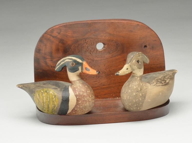 Wonderfully carved pair of miniature wood ducks, Otto Garren, Canton, Illinois, 1st half 20th century.