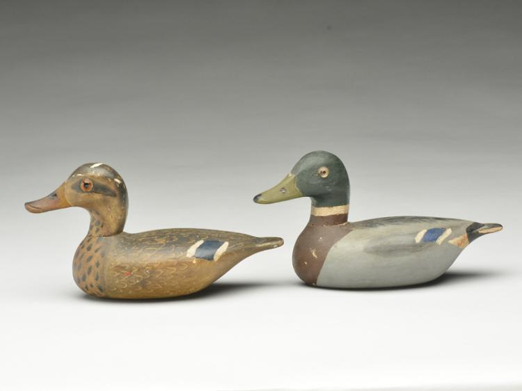 Miniature pair of mallards, Otto Garren, Canton, Illinois, 1st half 20th century.