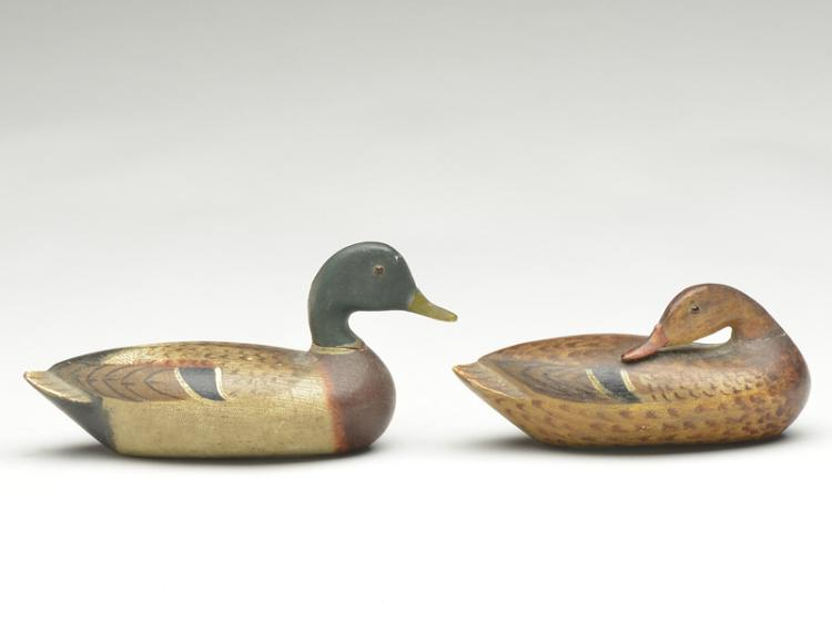 Exceptional and very early pair of miniature mallards, Charles Perdew, Henry, Illinois.