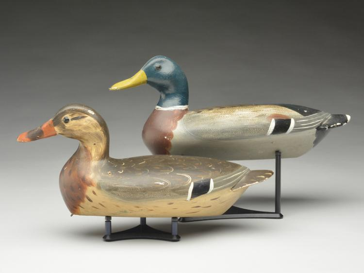 Pair of mallards, Robert Weeks, Bureau, Illinois, circa 1920s.