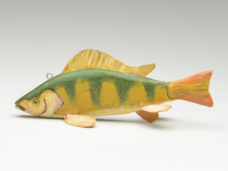 Perch fish decoy, Andy Trombley, (1919-1975), Mount Clemens, Michigan.