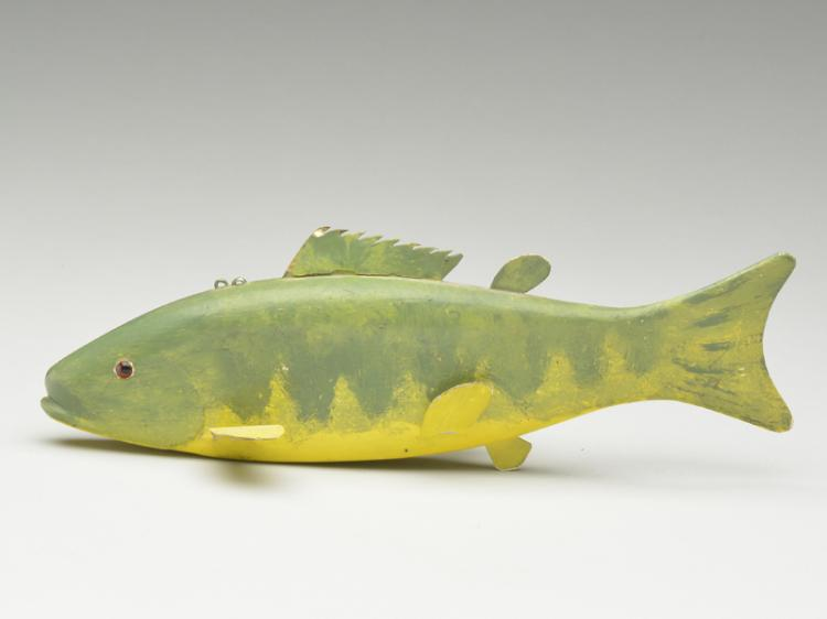 Perch fish decoy, Abraham DeHate (1890-1968), Mount Clemens, Michigan.