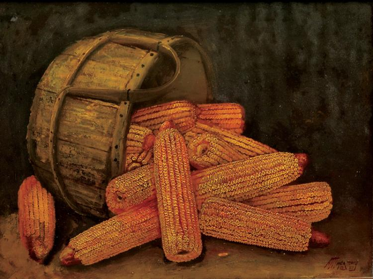 Oil on board of dried corn, Alfred Montgomery.