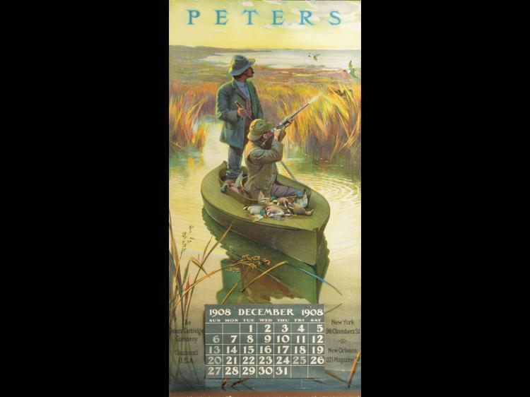 Rare Peters Cartridge Company calendar, 1908.