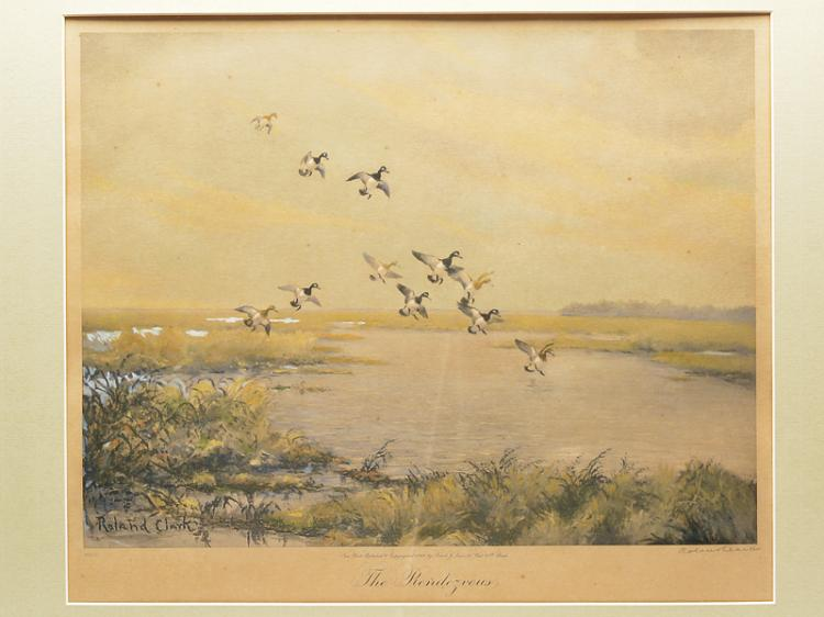 Three limited edition prints of waterfowl scenes, Roland Clark.