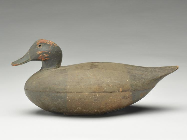 Rare hollow carved bluebill drake from Ohio, 3rd quarter 19th century.