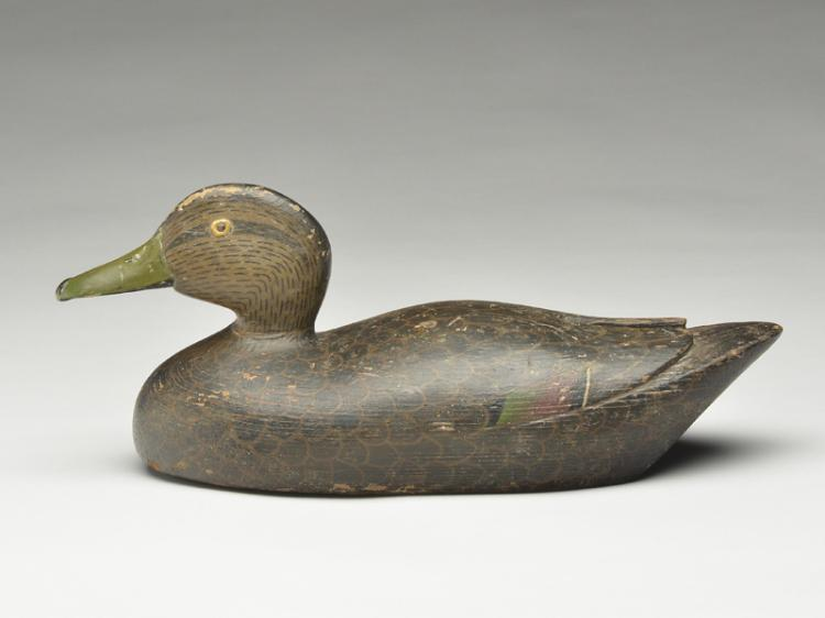 Black duck with relief wingtip carving.