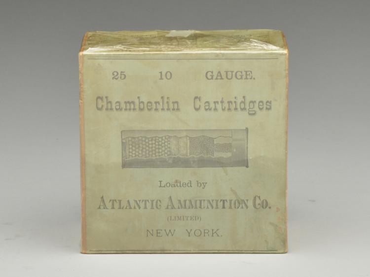 Very rare Chamberlin cartridges 10 gauge shotgun shell box with shells.