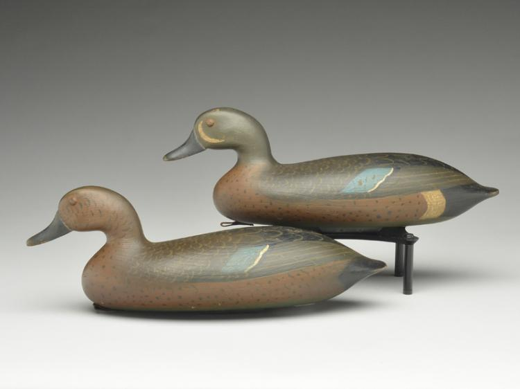 Pair of bluewing teal carved in the style of John Blair, Sr., Bob Seabrook.