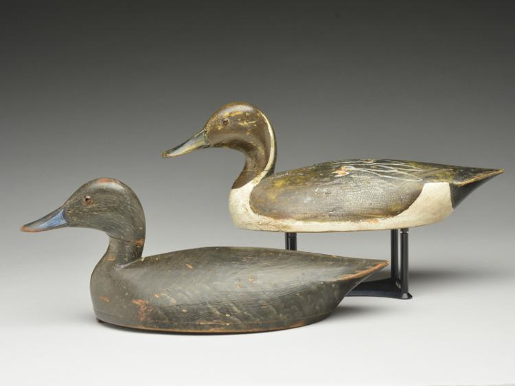 Very rare rigmate pair of hollow carved pintails, John R. Wells, Toronto, Ontario, 1st quarter 20th century.