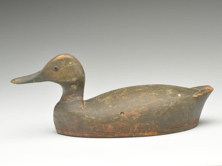 Hollow carved black duck from the Toronto Harbor area.