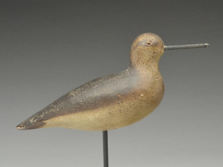 Rare dowitcher in fall plumage, Mason Decoy Factory, Detroit, Michigan, circa 1900.