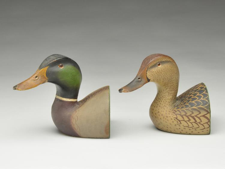 Pair of mallard bookends, Ward Brothers, Crisfield, Maryland.