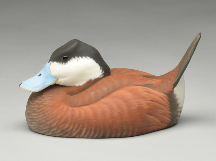 Hollow carved ruddy duck drake in content pose, Allan Bell, Toronto, Ontario.