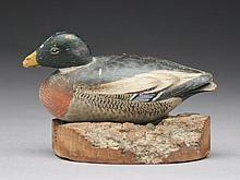 Miniature mallard drake on wooden base, Elmer Crowell, East Harwich, Massachusetts.