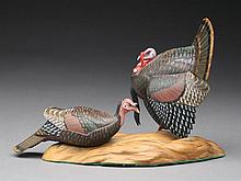 Exceptional and very rare pair of miniature turkeys, A.J. King, North Scituate, Rhode Island.