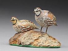 Pair of miniature Bob White quail, A.J. King, North Scituate, Rhode Island.