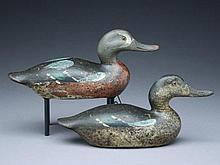 Pair of bluewing teal, Mason Decoy Factory, Detroit, Michigan, 1st quarter 20th century.