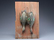 Pair of hanging greenwing teal with detailed feather carving, Grayson Chesser, Jenkins Bridge, Virginia.