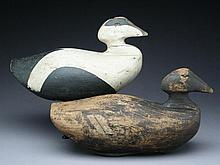 Rigmate pair of oversize eiders, Amos Wallace, West Point, Maine, last quarter 19th century.