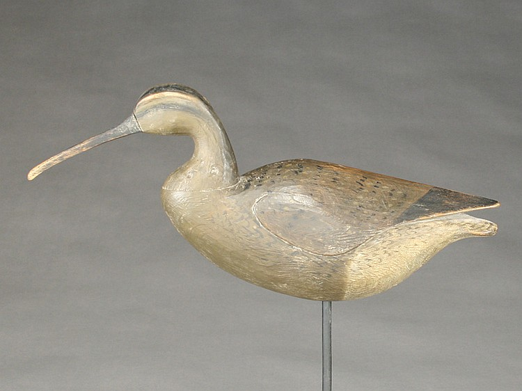 Large curlew carved in the style of Eli Doughty, Cameron McIntyre, Stockton, Maryland.
