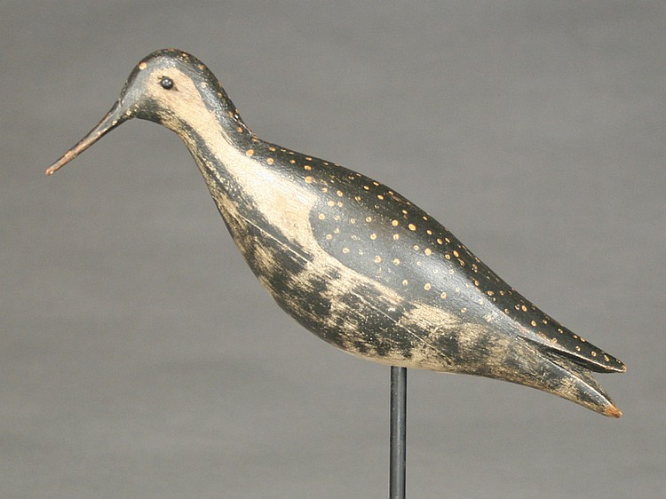 Very rare hollow carved golden plover, attributed to Joseph Lincoln, Accord, Massachusetts.