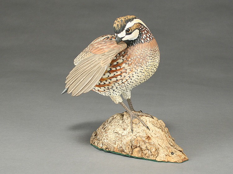 Decorative Bob White quail, Oliver Lawson, Crisfield, Maryland.