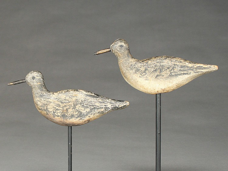 Two flat sided sandpipers from Cape Cod, Massachusetts, circa 1900.