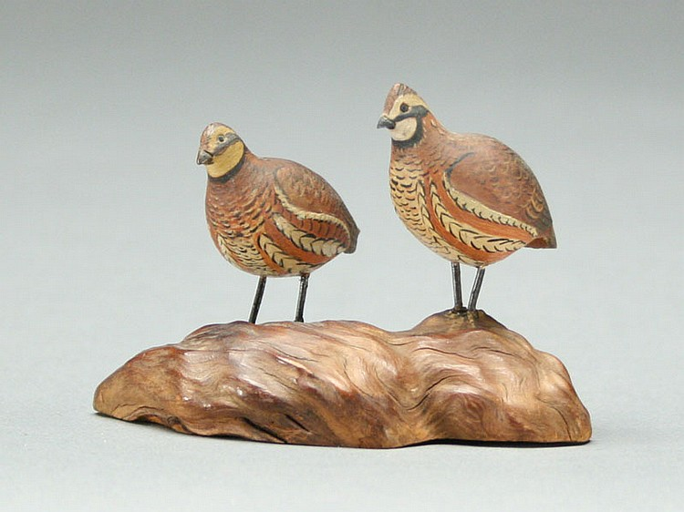 Superb pair of miniature quail, A.J. King, North Situate, Rhode Island.