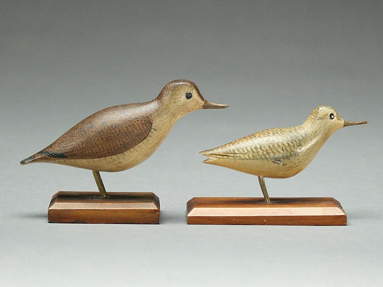Two miniature shorebirds, George Boyd, Seabrook, New Hampshire, 1st quarter 20th century.