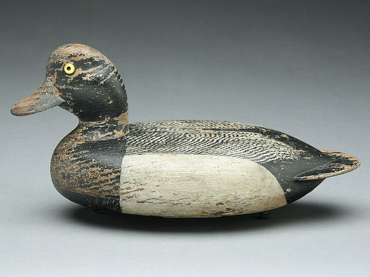 Hollow carved bluebill drake, Fred Allen, Monmouth, Illinois, circa 1890's.