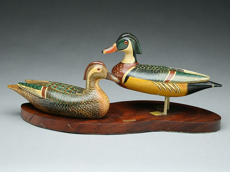 Standing wood duck pair on hardwood base, Charles Perdew, Henry, Illinois, circa 1950.