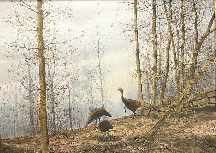 Watercolor of three turkeys, David Hagerbaumer.