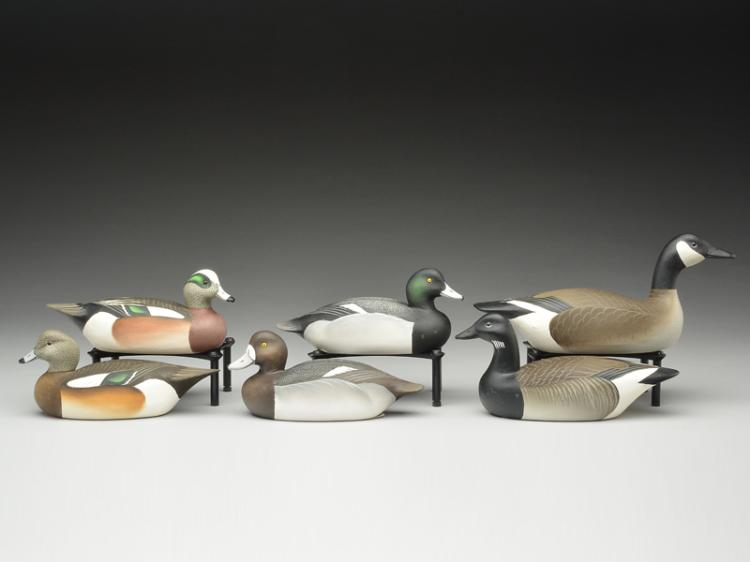 Six 1/4 size decoys, Charlie Joiner, Chestertown, Maryland.
