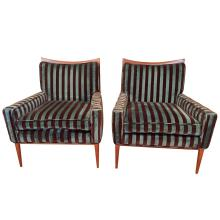Pair of Paul McCobb for Directional Lounge Chairs in Original Fabric