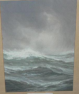 Bock, Adolf, gouache, stormigt hav, sign o dat