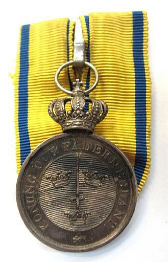 Medalj, silver; Kungliga Svärdsordens Svärdsmedalj