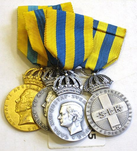 Medaljer, 4 st silver (1 förgylld), Sveriges